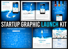 Startup Graphic Lauch Kit with Landing Webpages, Corporate Design Covers Stock Image