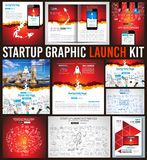 Startup Graphic Lauch Kit with Landing Webpages, Corporate Design Covers Royalty Free Stock Image
