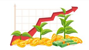 Startup Growth Concept Vector. Tree Growing On A Golden Coins. Growth Graph. Success Aim Reaching. Green Plant. Investment Analytics. Financial Report Stock Photos