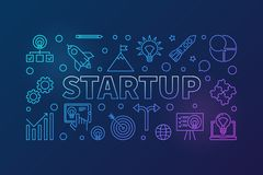 Startup horizontal colored illustration. Vector start-up banner. Startup horizontal colored illustration. Vector start-up concept banner in outline style on dark Stock Illustration