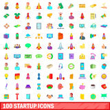 100 startup icons set, cartoon style. 100 startup icons set in cartoon style for any design vector illustration Stock Illustration