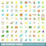 100 startup icons set, cartoon style Royalty Free Stock Images