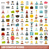 100 startup icons set, flat style Stock Photo