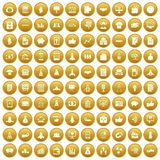 100 startup icons set gold. 100 startup icons set in gold circle isolated on white vector illustration Royalty Free Stock Photo
