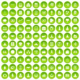 100 startup icons set green. 100 startup icons set in green circle isolated on white vectr illustration Stock Images