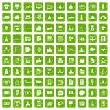 100 startup icons set grunge green. 100 startup icons set in grunge style green color isolated on white background vector illustration Stock Photography