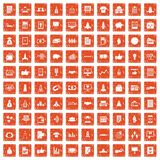 100 startup icons set grunge orange. 100 startup icons set in grunge style orange color isolated on white background vector illustration Royalty Free Stock Photos