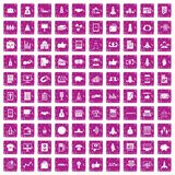 100 startup icons set grunge pink. 100 startup icons set in grunge style pink color isolated on white background vector illustration Stock Photography