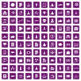 100 startup icons set grunge purple. 100 startup icons set in grunge style purple color isolated on white background vector illustration Royalty Free Stock Photography