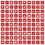 100 startup icons set grunge red Stock Photo