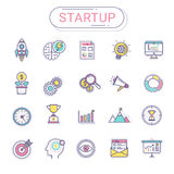 Startup icons - Set of new business icons contains rocket icons, business, planning, target, graph, money tree, success Royalty Free Stock Photo