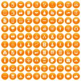 100 startup icons set orange. 100 startup icons set in orange circle isolated on white vector illustration stock illustration