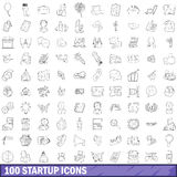 100 startup icons set, outline style Royalty Free Stock Images