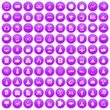 100 startup icons set purple. 100 startup icons set in purple circle isolated on white vector illustration Stock Images