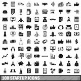 100 startup icons set, simple style. 100 startup icons set in simple style for any design vector illustration Royalty Free Stock Photography