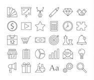 Startup icons set. Linear illustrations of rocket, money and business royalty free illustration