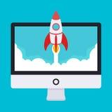 Startup illustration Raket tar av från Royaltyfri Bild