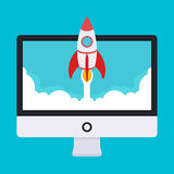 Startup illustration. Rocket takes off from the Royalty Free Stock Image
