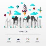 Startup infographic плоский дизайн также вектор иллюстрации притяжки corel бесплатная иллюстрация