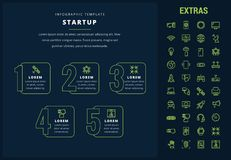 Startup infographic template, elements and icons. Royalty Free Stock Images