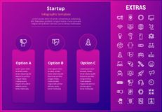 Startup infographic template, elements and icons. Startup options infographic template, elements and icons. Infograph includes three options, line icon set with Royalty Free Stock Photo