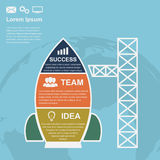 Startup infographic. Infographic template with rocket with icons and earth silhouette on background, startup, new bussiness, service or product concept vector illustration