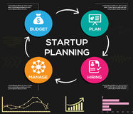 Startup Infographic Vector elements on black background Stock Photos