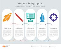 Startup infographics design. Infographics design  and Startup, Pencil, Laptop, Startup, Lifesaver icons can be used for workflow layout, diagram, annual report Stock Photo