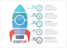 StartUp Infographics. With five steps royalty free illustration
