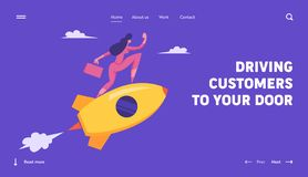 Startup Innovation Technology Concept. New Business Project, Woman Riding Rocket. Management and Development, Goal royalty free illustration
