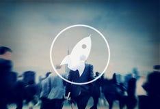 Startup innovationförbättring Rocket Concept för lansering Arkivfoton