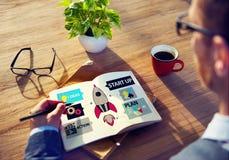 Startup innovationplanläggningsidéer Team Success Concept Arkivbilder