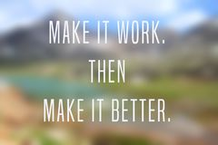 Startup inspiration text. Business motivational poster - startup inspiration. Make it work. Then make it better stock illustration
