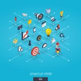 Startup integrated 3d web icons. Growth and progress concept vector illustration