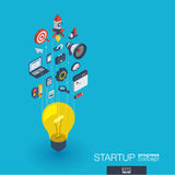 Startup integrated 3d web icons. Growth and progress concept royalty free illustration