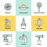 Startup key elements flat icons set Royalty Free Stock Photography