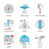 Startup key elements line icons set Royalty Free Stock Photo