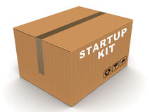 Startup kit. Box in cardboard taped on top end, on white background, concept of help with starting any project business and build yourself DIY project royalty free illustration