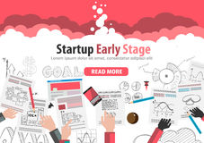 Startup Landing Webpage or Corporate Design Cover. S to use for web promotons, printed related materials or company presentation. Space for text Stock Photo
