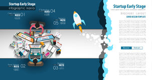 Startup Landing Webpage or Corporate Design Covers to use for web promotons. Printed related materials or company presentation. Space for text Royalty Free Stock Image
