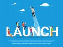 Startup lanseringsbegreppsillustration av affärsfolk som tillsammans arbetar som laget royaltyfri illustrationer