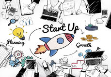 Startup Launch Opportunity Plan Ideas Concept royalty free illustration