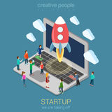 Startup launch process flat 3d web isometric infographic concept Royalty Free Stock Images