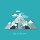 Startup launching process flat web infographic. Ecology flat design concept vector. Happy friendly mountain and city houses. Design elements for web and mobile Royalty Free Illustration