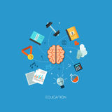 Startup launching process flat web infographic. Education brain process flat web infographic technology online service application internet business concept Stock Illustration