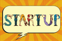 Startup, letters business people Stock Images