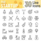 Startup line icon set, development symbols. Collection, vector sketches, logo illustrations, business finance signs linear pictograms package isolated on white vector illustration