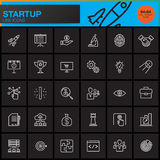 Startup line icons set, outline vector symbol collection. Linear pictogram pack isolated on black, pixel perfect logo illustration Royalty Free Stock Photography