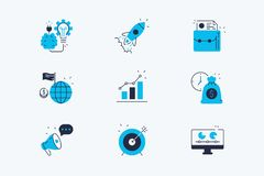 Startup line icons set. Vector illustration. Composition consists of symbols new idea, rocket, promote, growth strategy and target flat style design. Business stock illustration