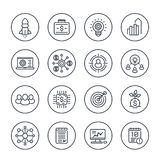 Startup line icons, product launch project funding. Startup line icons set on white, product launch, project funding, initial capital, contract, ipo, target royalty free illustration